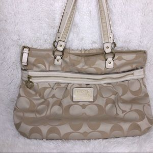 coach beige and white zip top tote purse